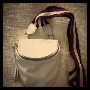 Leather white crossbody bag.